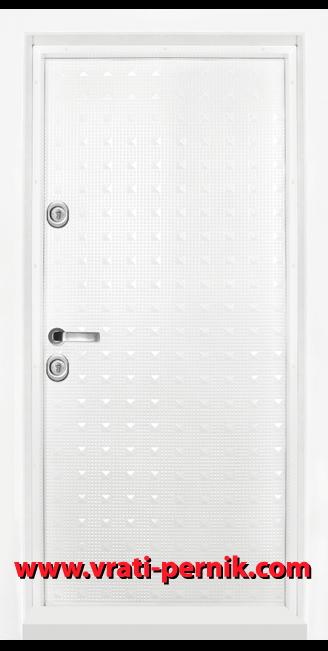 Блиндирана входна врата, модел T-777 Бял гланц
